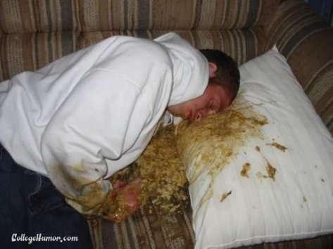 drunkspew on bed vomit