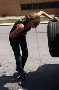Hot woman voms in parking lot 3 vomit