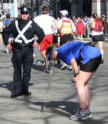Vomit in front of cop vomit
