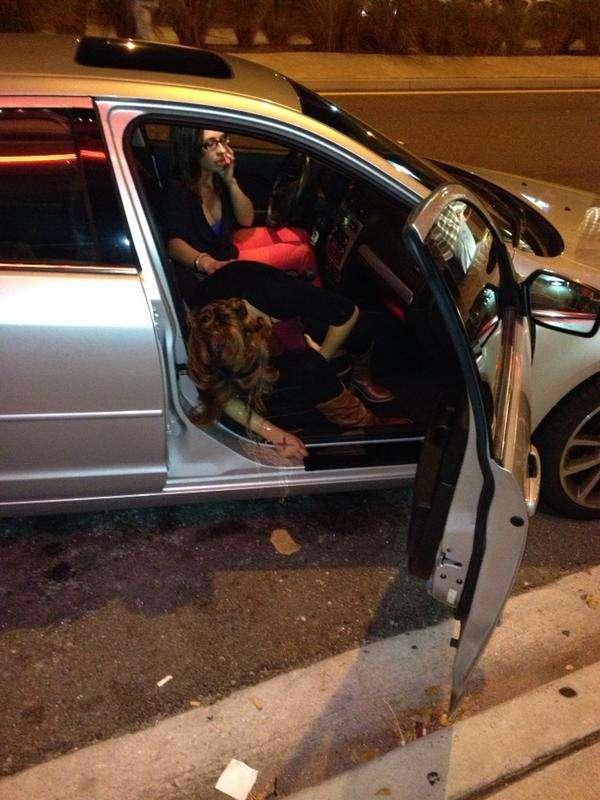 girl pukes inside car vomit