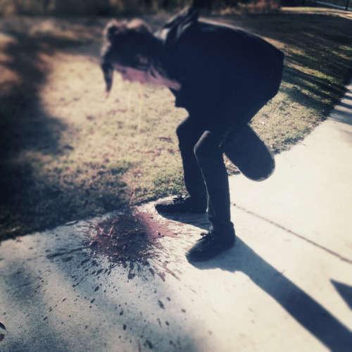 Musician pukes vomit