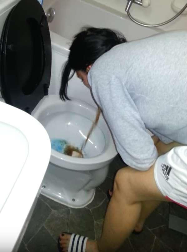 Brown barf meets blue toilet water vomit