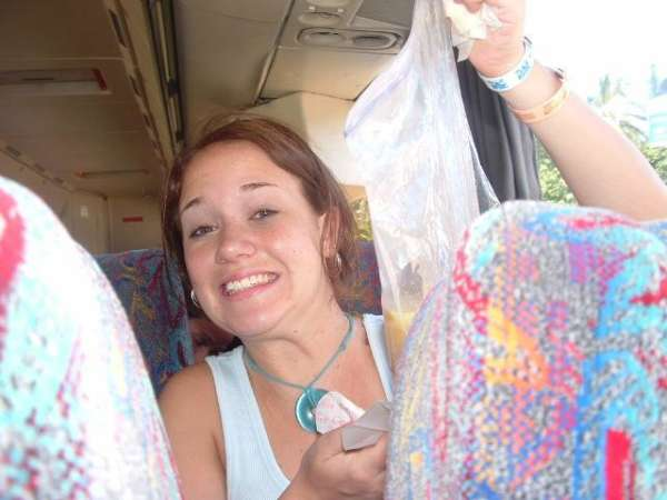 She booted in a bag on the bus vomit