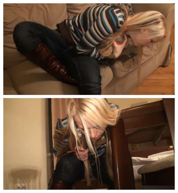 Beautiful blonde stains the couch vomit