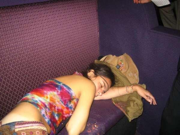 Sleeping on her own vomit! vomit
