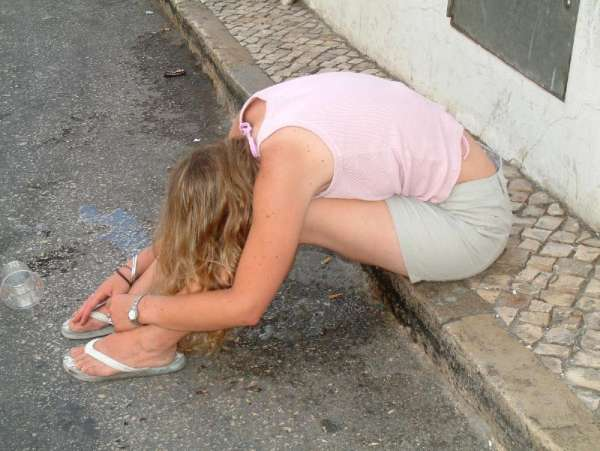 Girl puking on the street! vomit