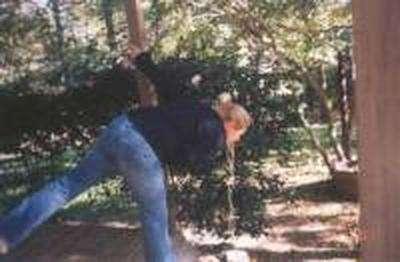 Women puking in the woods vomit