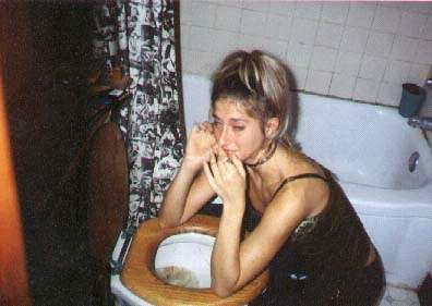 HAHAHA.She pukes...! vomit